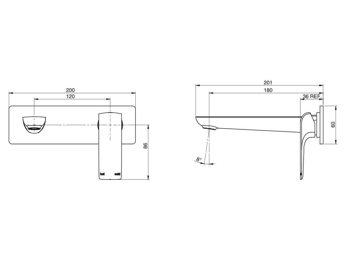Milli Glance Wall Basin Mixer Set 180mm Chrome (6 Star)