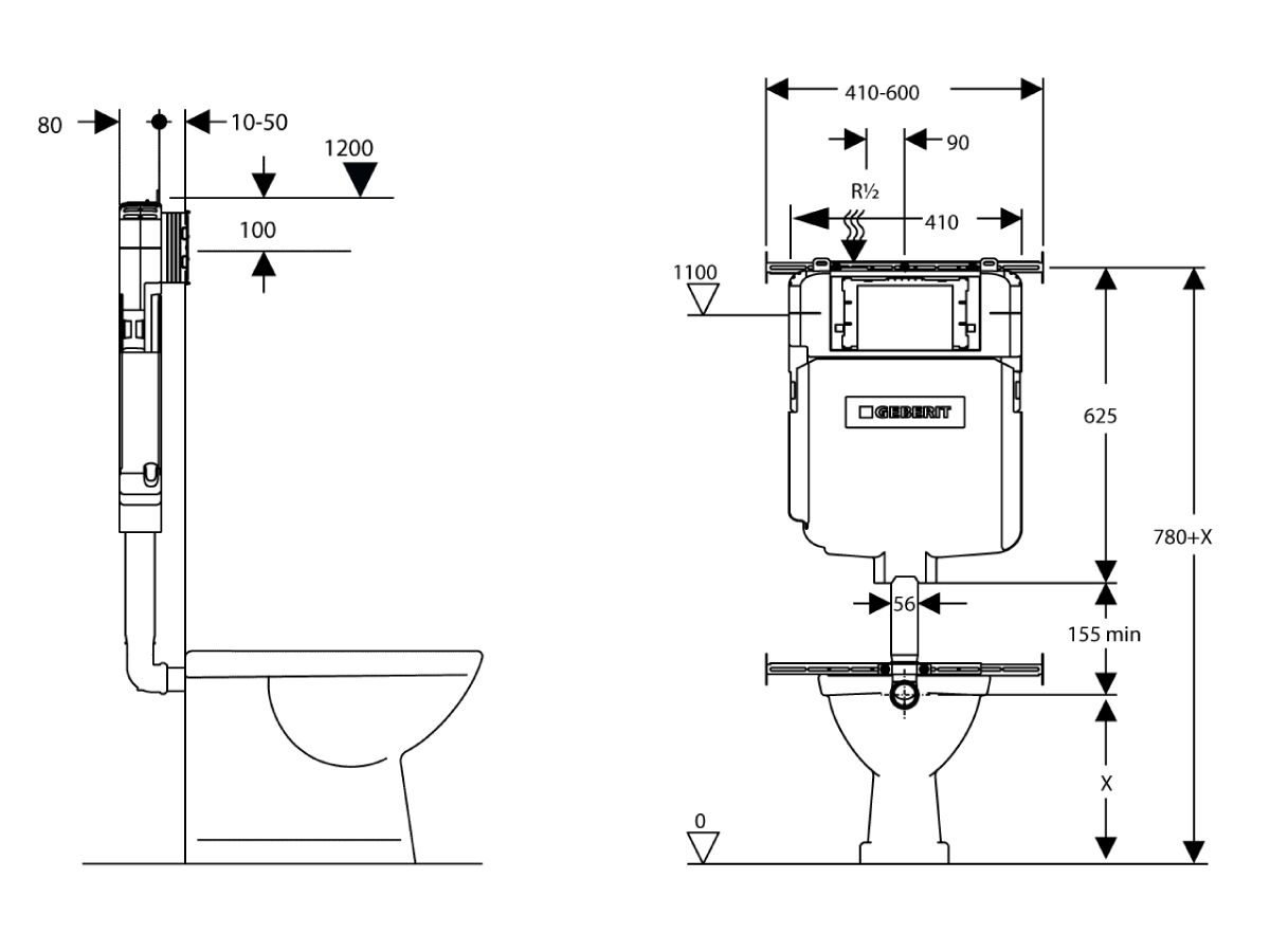 Geberit Sigma 8 Cistern - Back to Wall (4 Star)