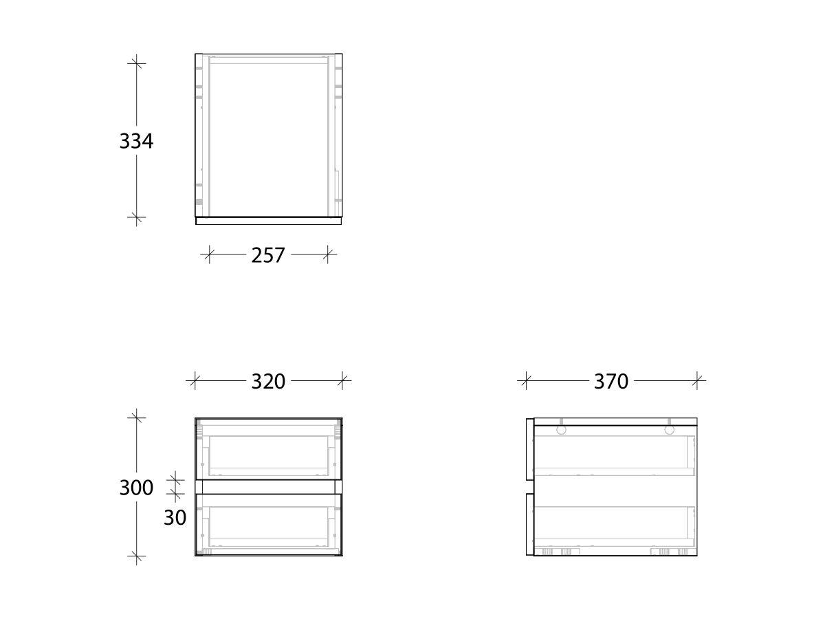 Kado Neue Twin Drawer Box 2 Drawers
