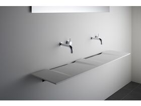 Linea Double Washplane Solid Surface White