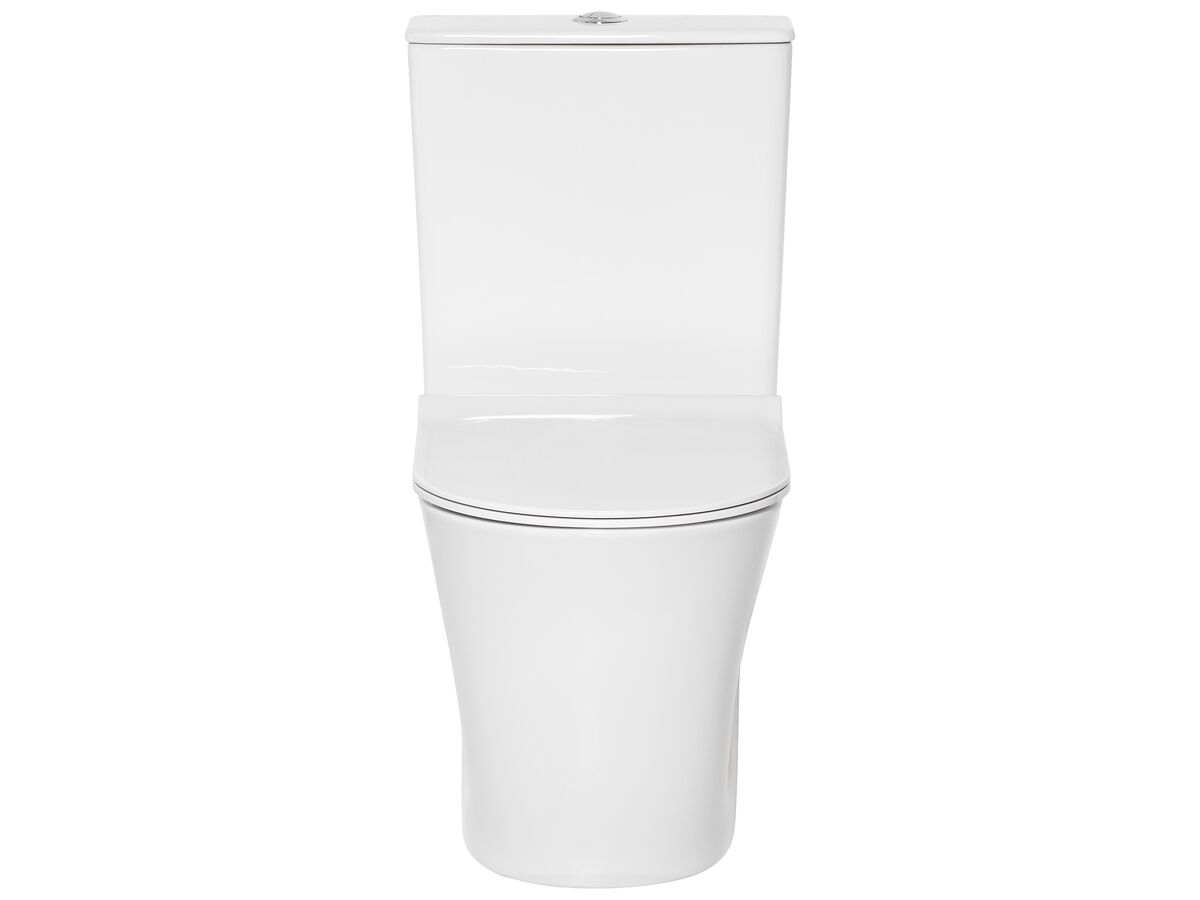 American Standard Heron Square Hygiene Rim Bottom Inlet Close Coupled Back to Wall Toilet Suite with Soft Close Quick Release Seat White (4 Star)