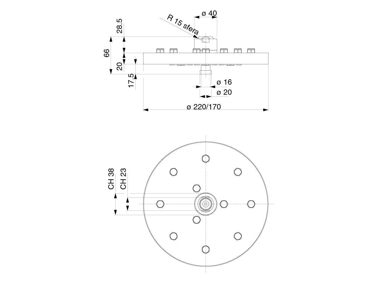 Teknobili Plus Brass Overhead Shower 170mm Chrome (3 Star)