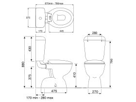 Posh Dominique Link Toilet Suite S Trap with Soft Close Seat White (4 Star)