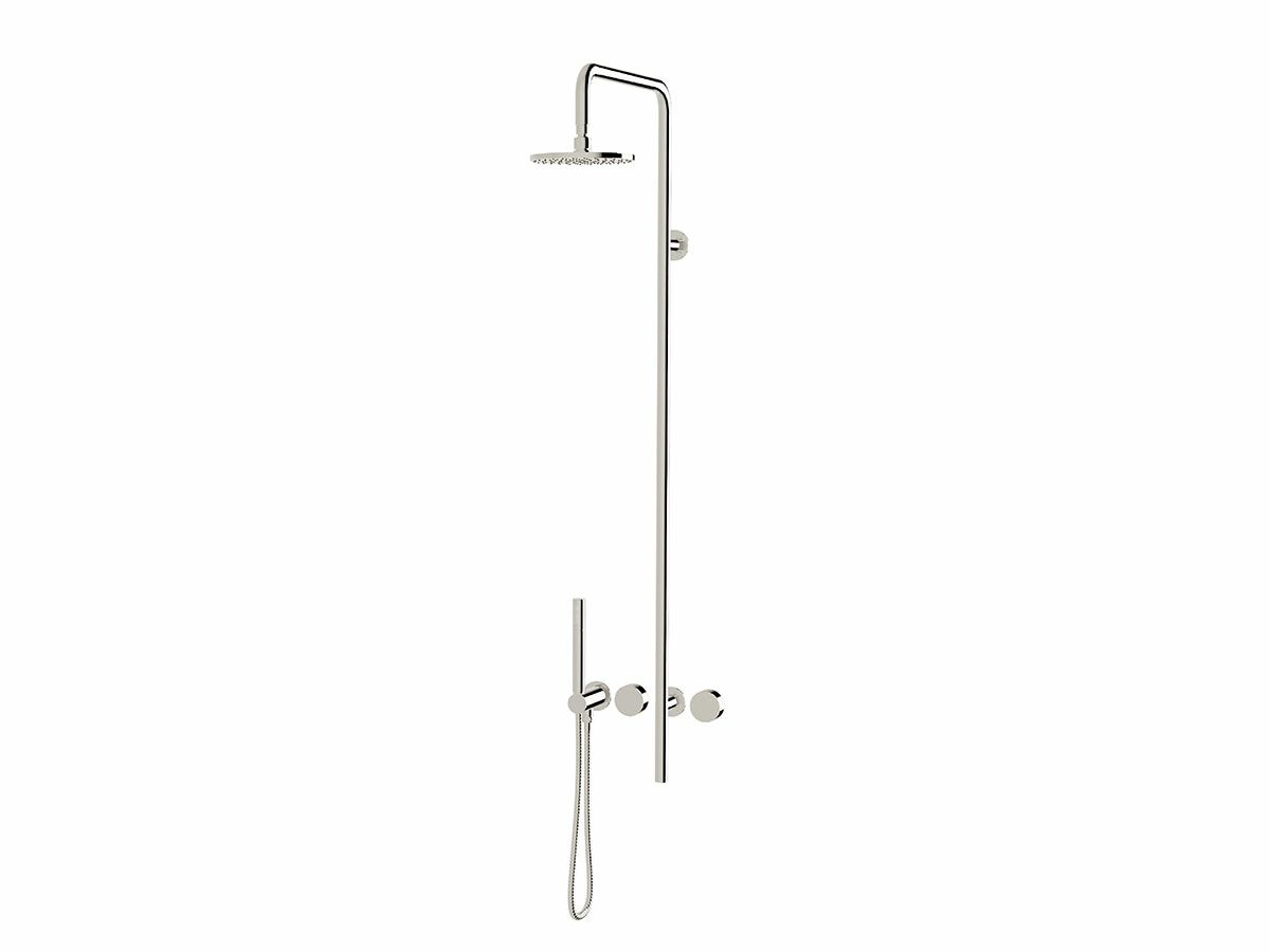 Milli Pure Progressive Shower Mixer Column System with Hand Shower Right Hand Chrome Plated