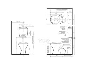 Cosmo Sovereign Care 4.5/3 P Trap Toilet Suite with Caravelle Double Flap Seat White (4 Star)
