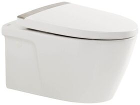 American Standard Acacia E Wall Hung Pan with Soft Close Quick Release Seat White and Chrome strip (4 Star)