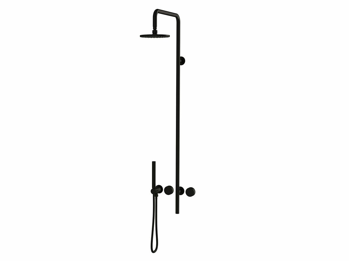Milli Pure Progressive Shower Mixer Column System with Hand Shower Right Hand Matte Black
