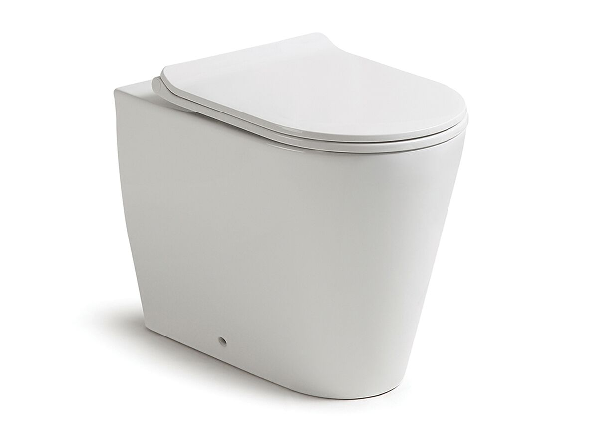 Kado Lux Back to Wall Overheight Pan with Soft Close Quick Release Thin Seat White (4 Star)