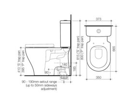 Caroma Luna Cleanflush Close Coupled S Trap Bottom Inlet Toilet Suite White (4 Star)
