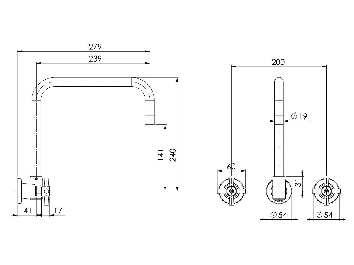 Phoenix Gen X Outlet Wall Sink Set fixed Spout Chrome (3 Star)