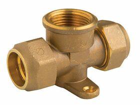 Brass Crox Tee W/Bracket W/2 Nuts 15Mm