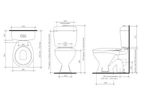 BASE Link Toilet Suite S Trap with Seat White (4 Star)