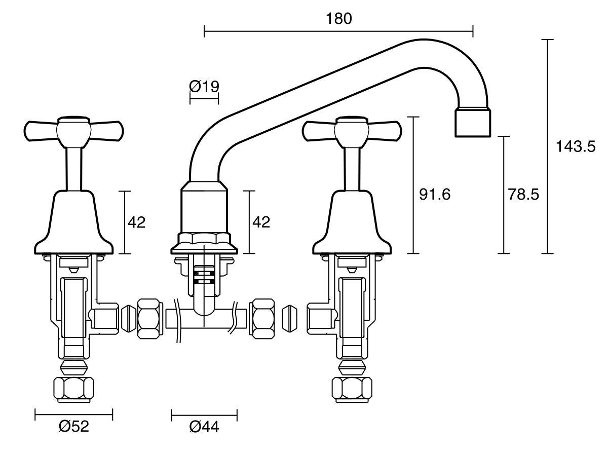 Posh Bristol Hob Sink Set Adjustable Chrome (4 Star)