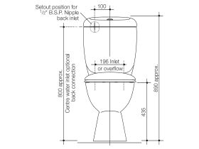 Caravelle Easy Height Close Coupled Back Entry Toilet Suite with Armrests - White (4 Star)
