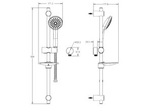 Posh Solus Mk3 Rail Shower 1 Function Chrome (4 Star)