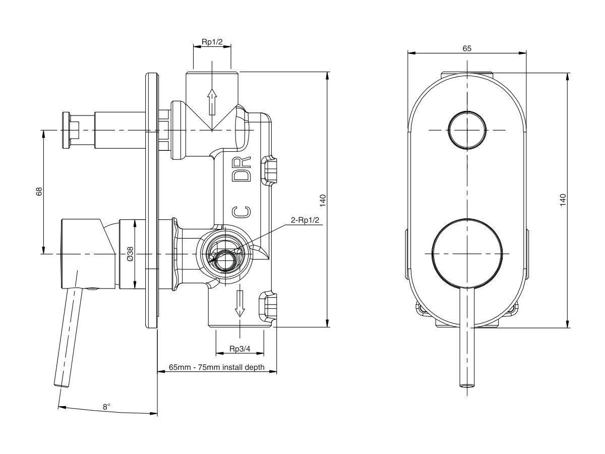 Mizu Drift MK2 Shower Mixer Tap with Diverter