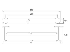 Mizu Drift Double Towel Rail 700mm