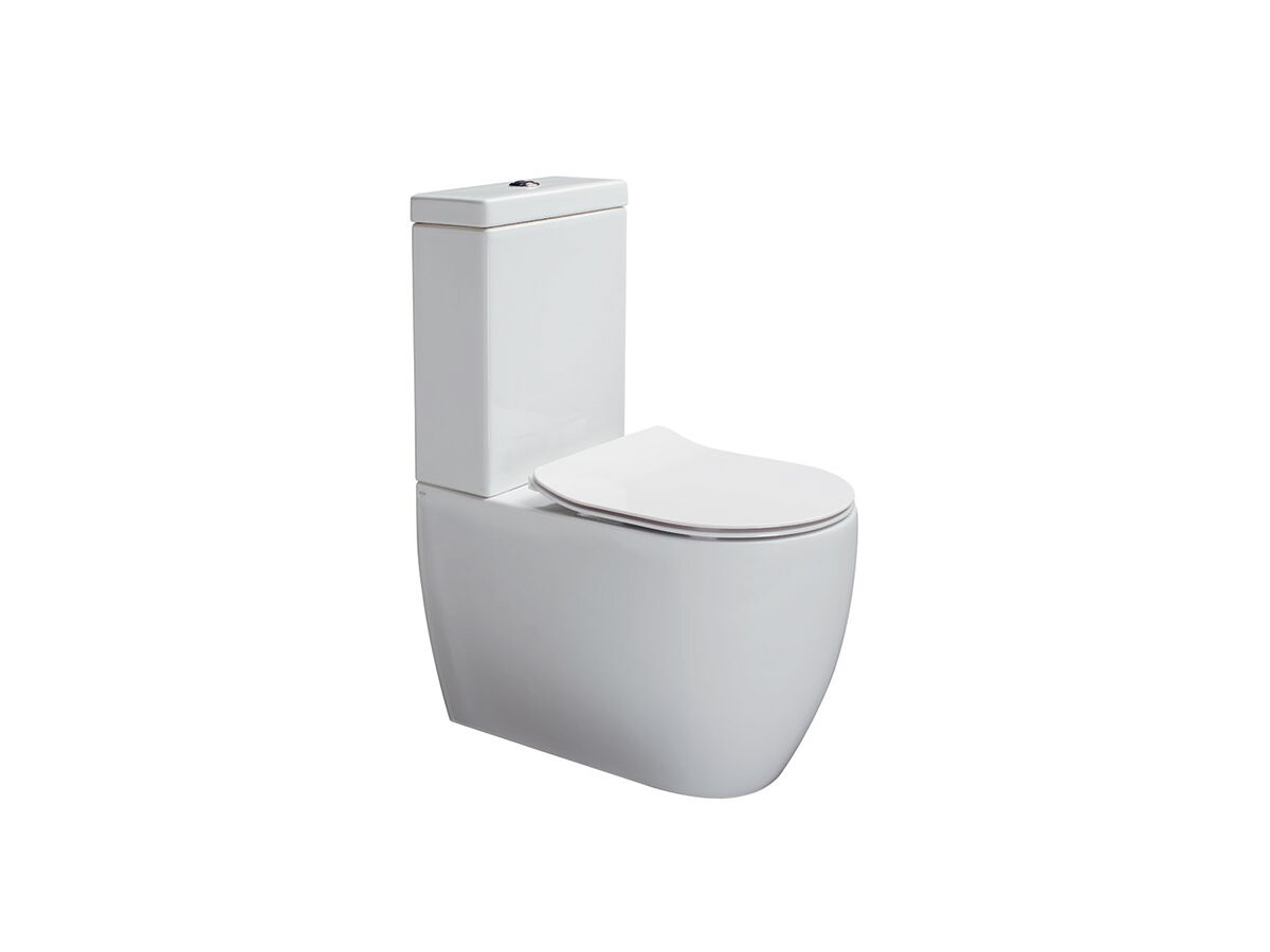 Axa Uno Close Coupled Back To Wall Rimless Toilet Suite Soft Close Quick Release Seat White (4 Star)