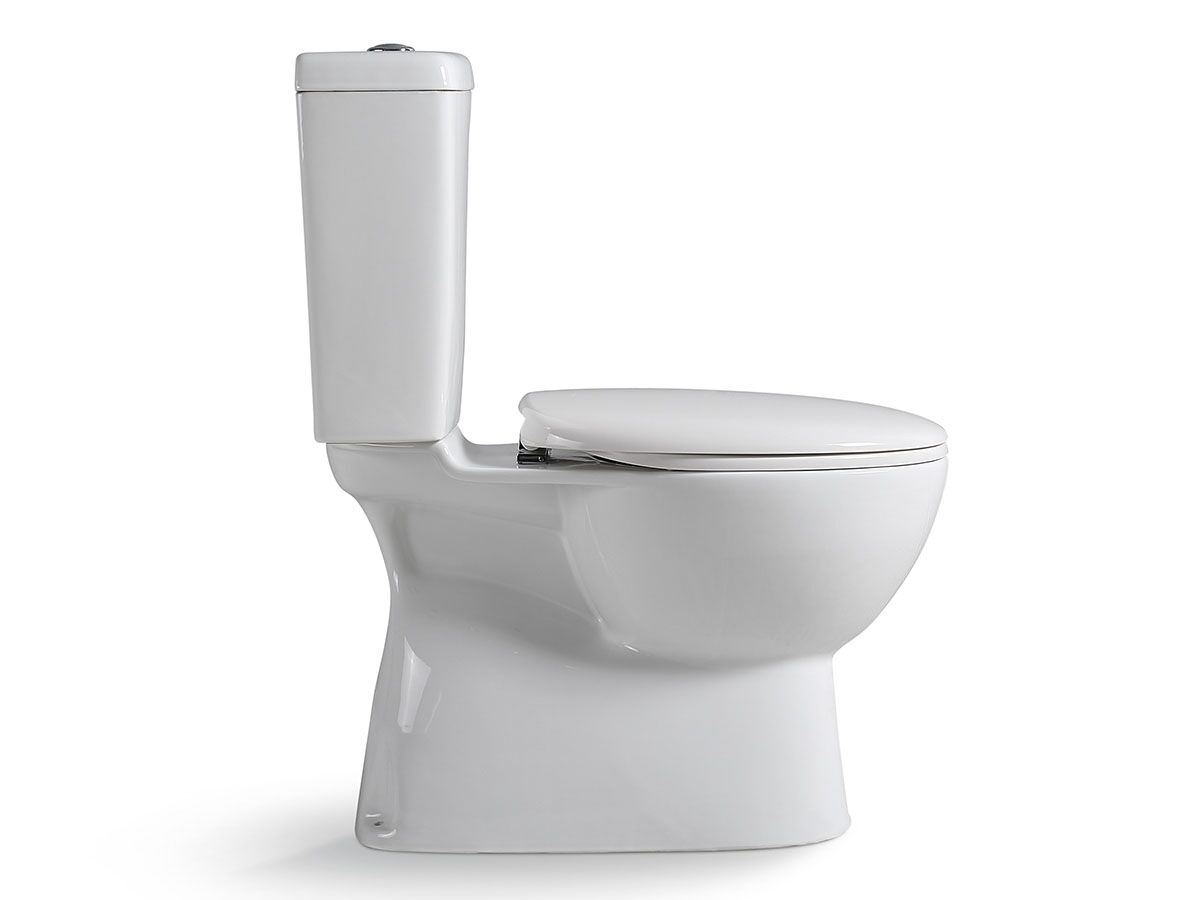 Posh Solus Square Close Coupled Toilet Suite with Soft Close Quick Release Seat White/ Chrome New (4 Star)