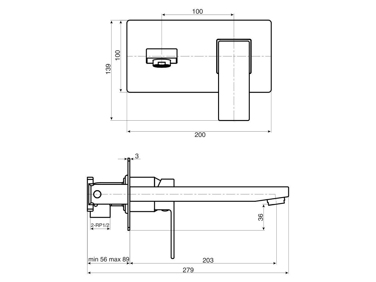 Mizu Bloc MK2 Wall Basin Mixer Set Chrome (4 Star)