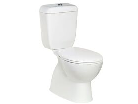 Posh Solus Round Close Coupled S Trap Toilet Suite with Seat White / Chrome (4 Star)