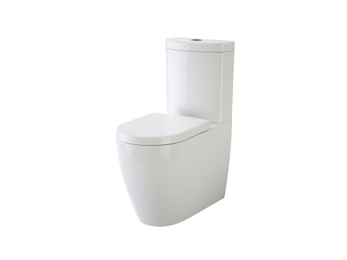 Caroma Forma Close Coupled Back To Wall Back Inlet Over Height Rimless Toilet Suite with Soft Close Quick Release Seat White (4 Star)