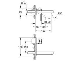 Grohe Lineare Wall Basin Mixer Set Trimset 150mm Chrome (3 Star)