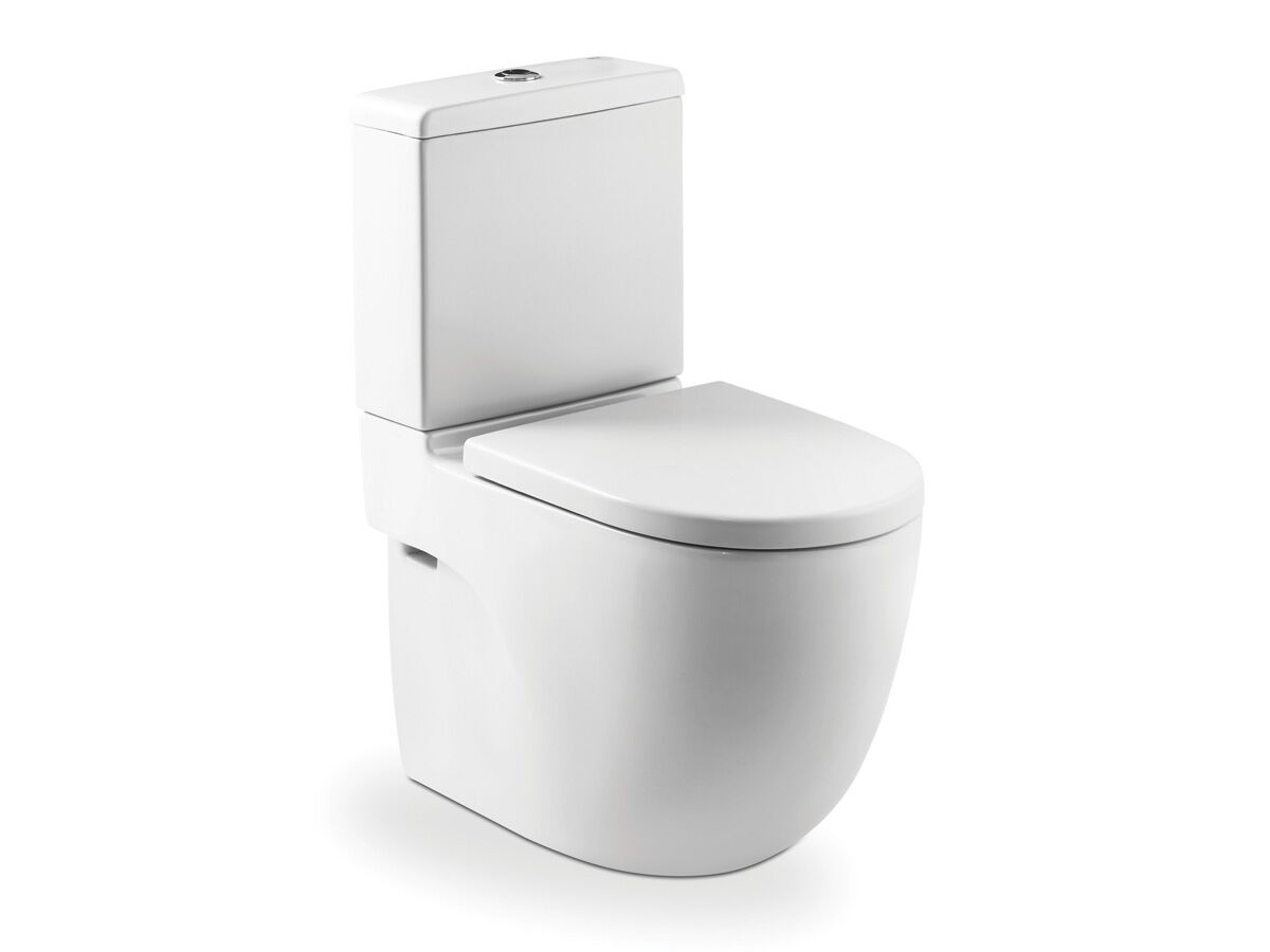 Meridian Close Coupled Back to Wall Back Inlet Toilet Suite, S & P Trap with Soft Close Seat Quick Release White / Chrome (4 Star)
