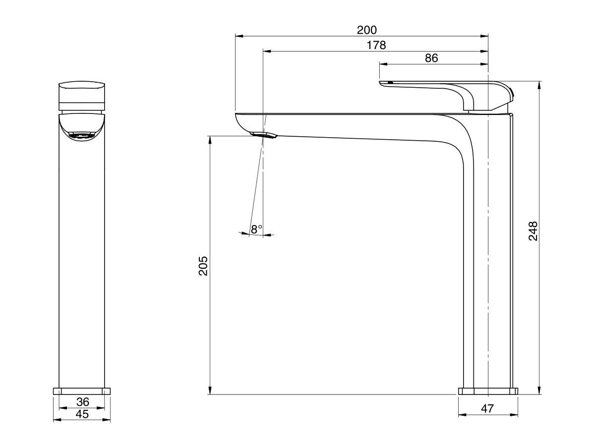 Milli Glance Extended Basin Mixer Chrome (6 Star)