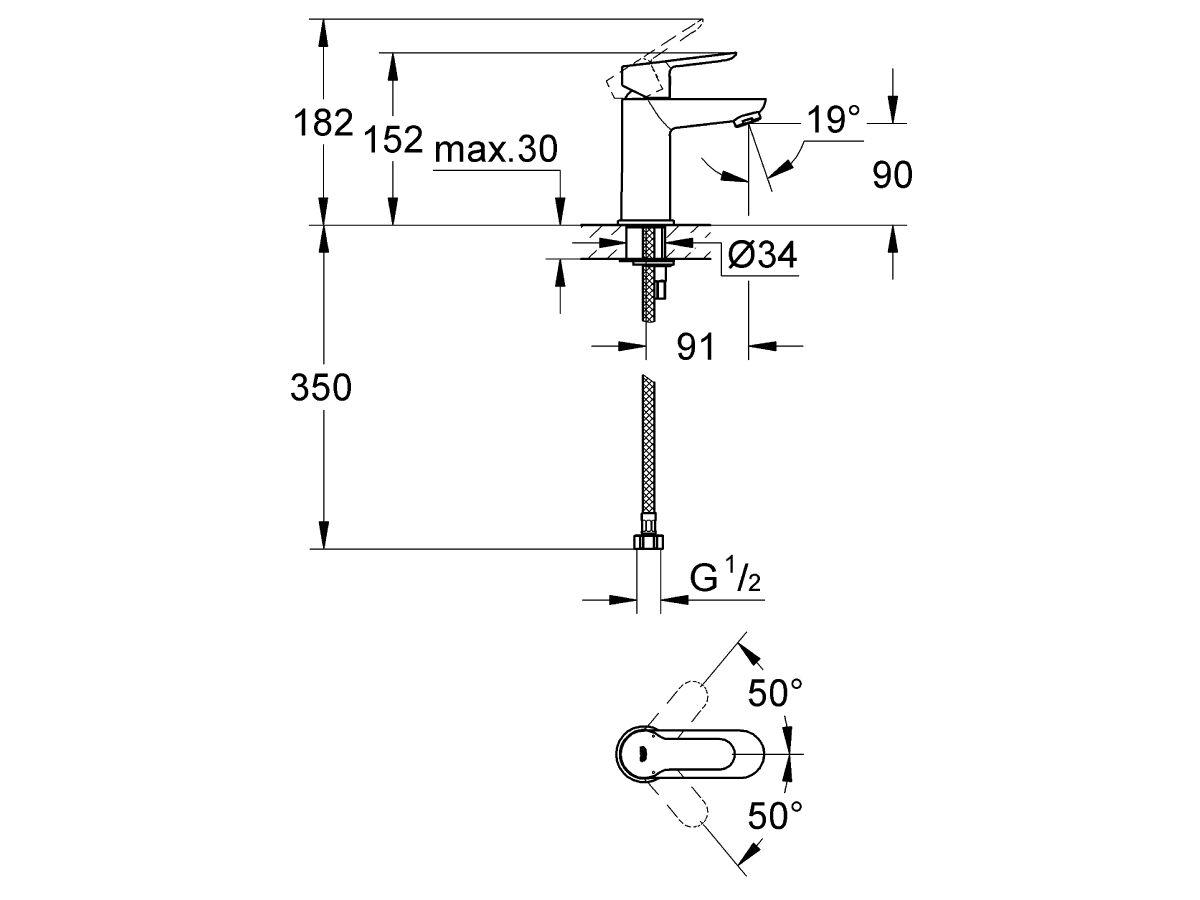 Grohe BauEdge Basin Mixer Chrome (5 Star)