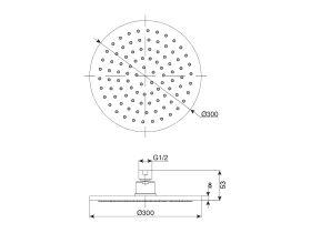 Mizu Drift Brass Overhead Shower 300mm (3 Star)