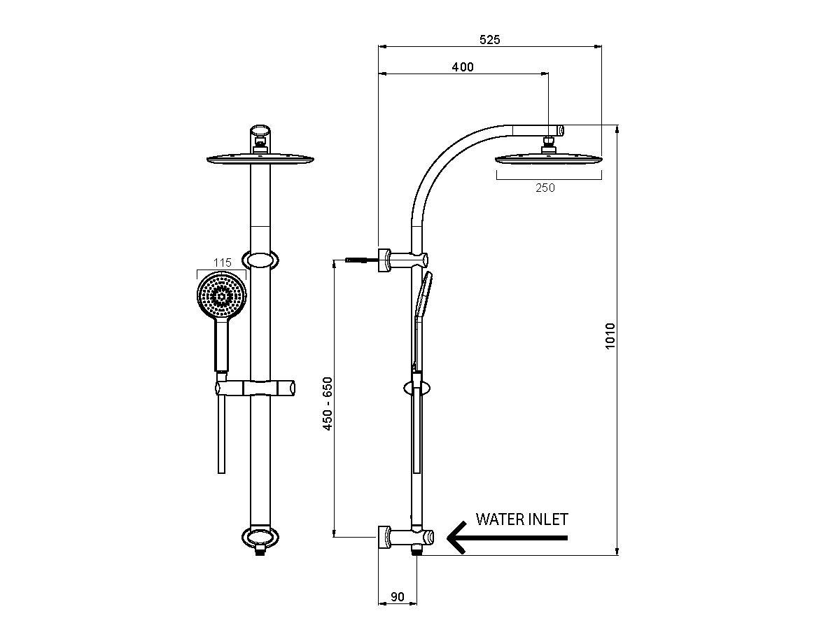 Nikles Pearl Twin Rail Shower - Pearl Handpiece, Pearl 250 Square Showerhead Chrome (3 Star)