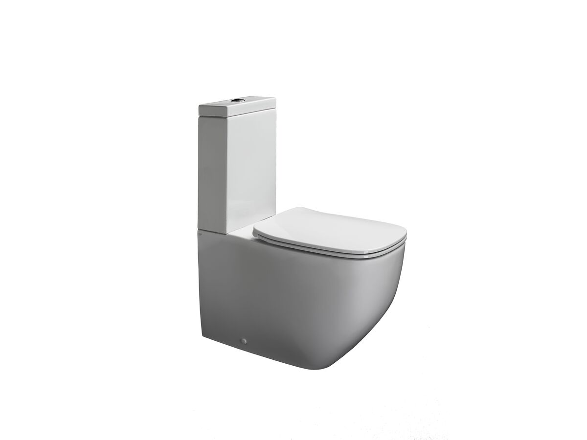 Axa Five Close Coupled Back To Wall Rimless Toilet Suite with Soft Close Quick Release Seat White (4 Star)