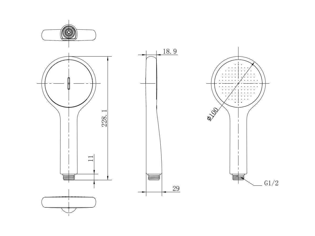 American Standard Genie Shower Handpiece (3 Star)