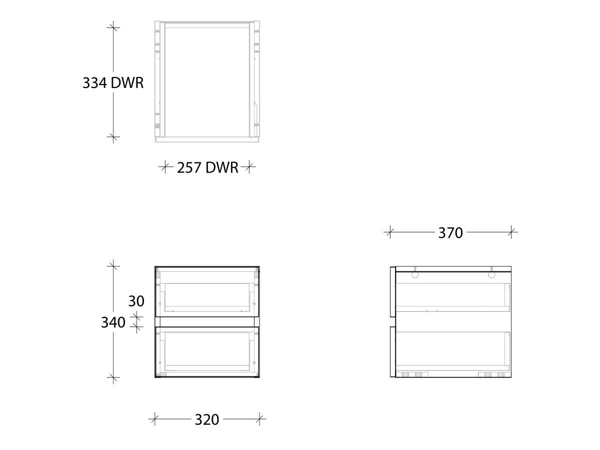 Kado Lux Twin Drawer Box 2 Drawers