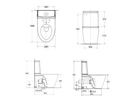 American Standard Acacia E Close Coupled Back to Wall Back Inlet Toilet Suite White (4 Star)