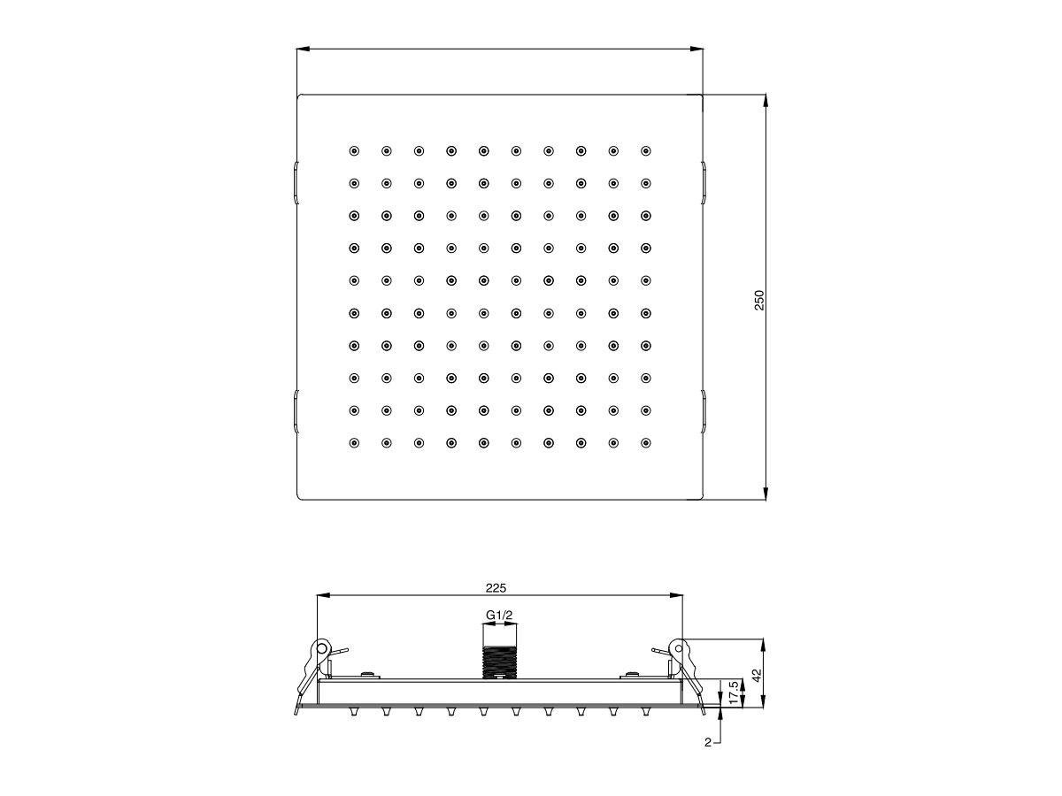 Mizu Bloc Ceiling Shower 250mm (3 Star)