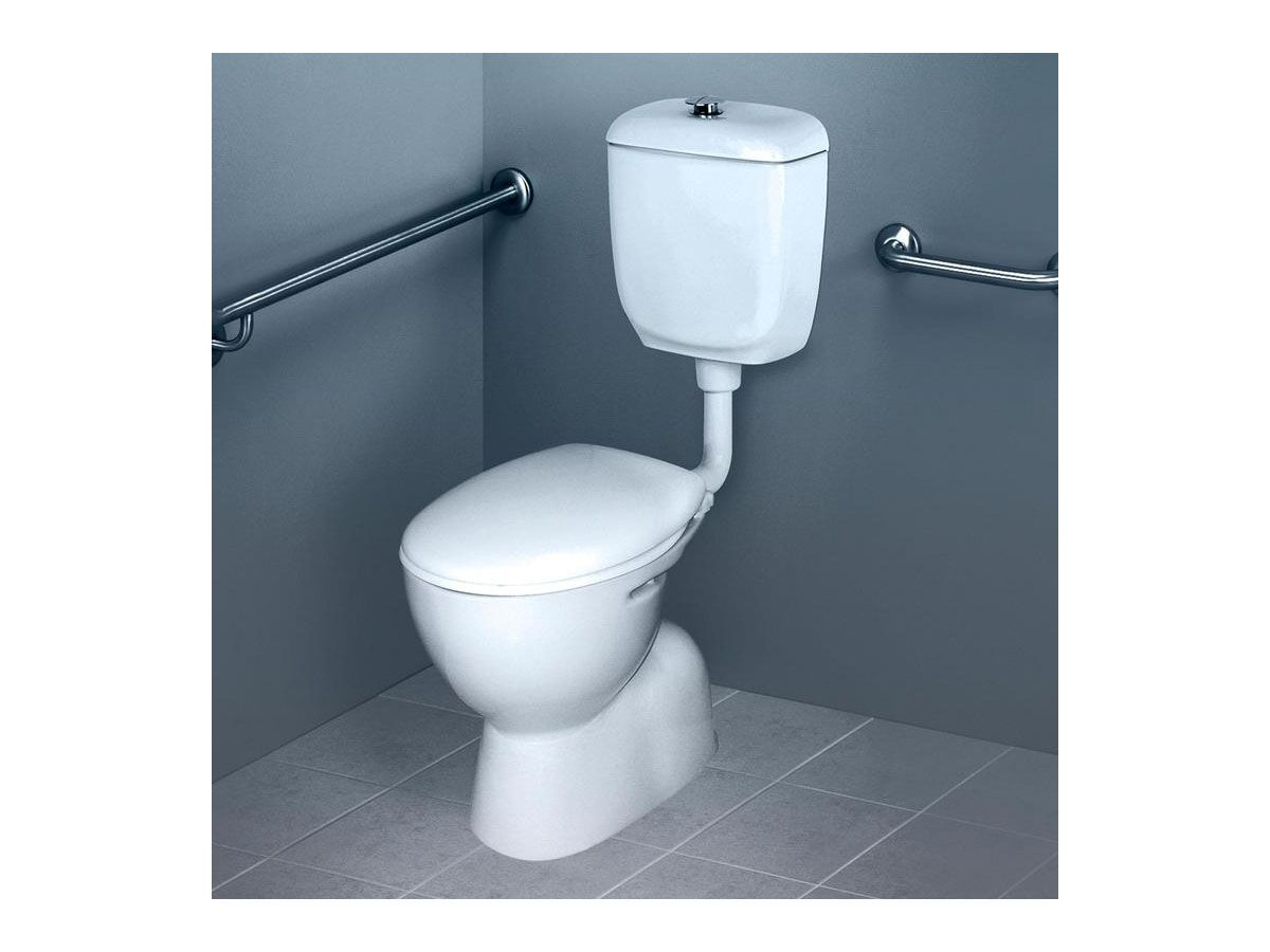 Caroma Care 400 Bottom Inlet Toilet Suite S Trap with Caravelle Double Flap Seat White (4 Star)