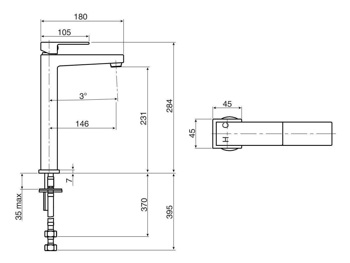 Mizu Bloc MK2 Extended Basin Mixer (4 Star)