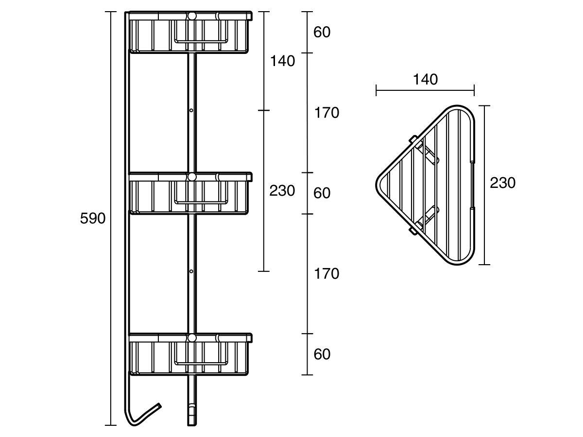 Posh Solus Corner Basket System Chrome