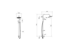 Milli Inox Overhead Rail Shower with Handshower Stainless Steel (2 Star)