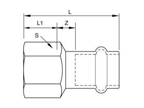 Technical Image - B-Press Stainless Steel Female Straight Connector